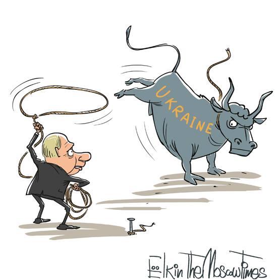Poutine essaye d'apprivoiser l'Ukraine. Political Cartoon pour le Moscow Times, 25 novembre