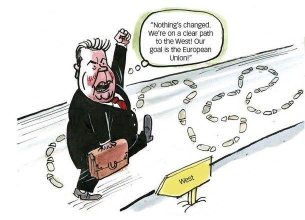L'incapacité du président Viktor Ianoukovitch à venir à un accord clair avec soit l'Union européenne ou de la Russie a laissé de nombreuses personnes se demandant où il est à la tête de la nation.     Cartoon @ kyivpost ce matin essaie d'attraper le chemin de Président de l'Ukraine Viktor Ianoukovitch.